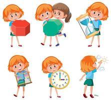 Crianças segurando objetos matemáticos vetor