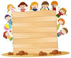 Modelo de quadro com crianças felizes vetor