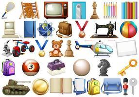 Coleção de objetos domésticos de escritório vetor
