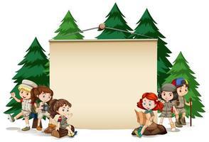 Banner com crianças de acampamento vetor