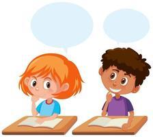 Alunos conversando na sala de aula vetor