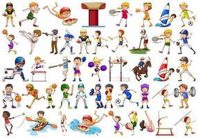 Conjunto de atividades esportivas para crianças