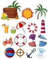 Um conjunto de elementos de praia verão vetor