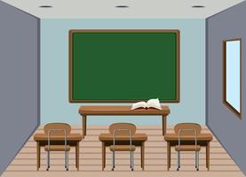 Sala de aula de madeira vazia interior vetor