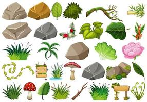 Conjunto de tema de objetos isolados - rochas e plantas vetor