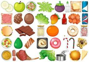 Conjunto de sobremesas e legumes frescos vetor