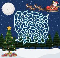 Jogo de labirinto de Papai Noel vetor