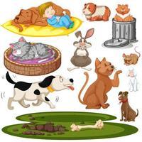 Conjunto de crianças e animais de estimação elementos isolados vetor