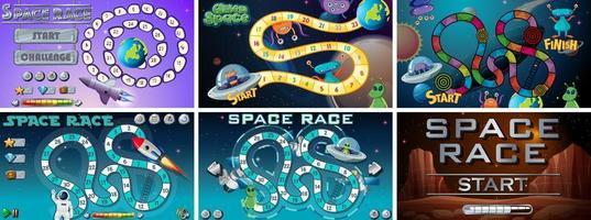 Conjunto de jogos e atividades espaciais vetor