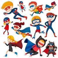 Conjunto de crianças super-herói vetor