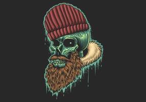 Crânio com barba e chapéu vetor