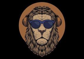 Cabeça de leão com óculos de sol vetor