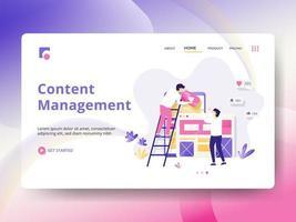 Página de destino do gerenciamento de conteúdo