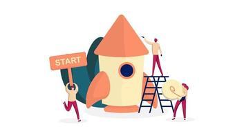 Projeto de inicialização para novos negócios é lançado com foguetes e trabalhadores