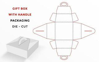 Molde cortado para caixa de presente com alça vetor