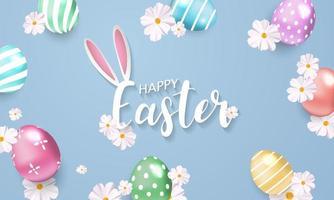 Fundo de Páscoa com flores e ovos brilhantes vetor