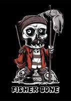 Mascote de peixe de caveira de osso de pescador vetor
