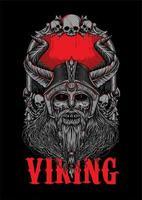 Ilustração de zumbi de osso de cadáver Viking vetor