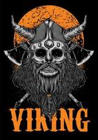Ilustração de zumbi Viking com lua vetor