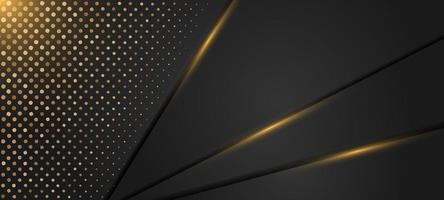 Ouro elegante e fundo pontilhado preto vetor
