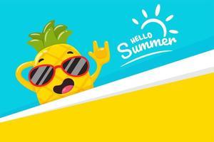 Abacaxi feliz no verão vetor