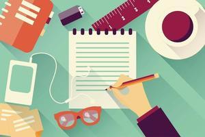Escrevendo no plano de fundo do caderno vetor