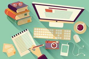Objetos de trabalho de design plano vetor