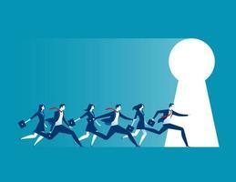 Empresários correndo para o buraco da fechadura