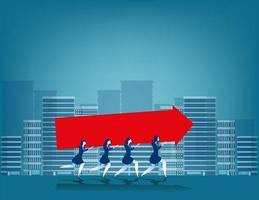 Mulheres de negócios carregando seta grande vetor