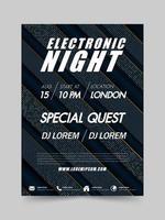Festival de música eletrônica e panfleto de festa do clube