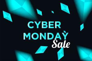 cartaz de venda segunda-feira cyber com diamantes brilhantes vetor
