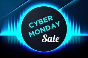 banner de cyber segunda-feira azul brilhante com moldura de círculo vetor