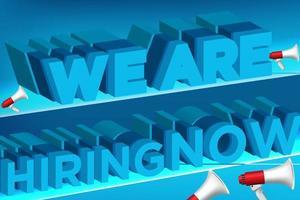 contratação de design de cartaz com megafones e texto 3d