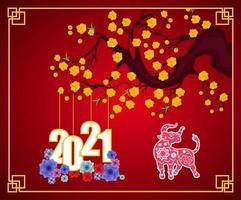 cartaz de ano novo chinês 2021 em vermelho com galhos e flores vetor