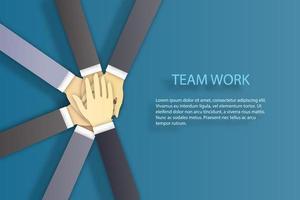 equipe de negócios, empilhando as mãos juntas vetor