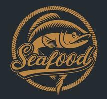 ilustração vintage de peixe com quadro de corda vetor