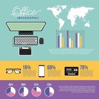 elementos de tecnologia e infográfico de escritório vetor