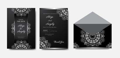 conjunto de convite de casamento mandala prata e branco vetor