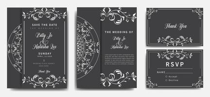 conjunto de convite de casamento mandala cinza e branco vetor