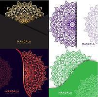 mandala colorida em 4 estilos diferentes vetor