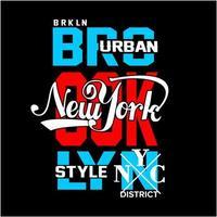 design de tipografia de brooklyn e nova york vetor