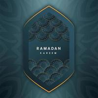 Ramadan Kareem saudações islâmicas em forma geométrica de amêndoa
