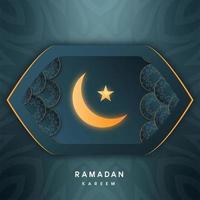 Saudações do Ramadã Mubarak em forma de amêndoa geométrica