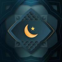 cartão de ramadan mubarak com lua e estrela