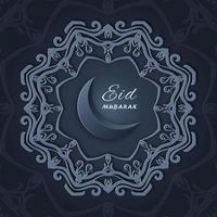 saudações de ad mubarak com design de estrela ornamental mandala