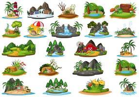 conjunto de paisagem diferente da ilha vetor