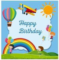 cartão de feliz aniversário com crianças felizes vetor