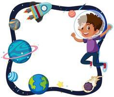 uma fronteira menino e planeta vetor