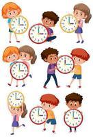 conjunto de crianças e tempo vetor