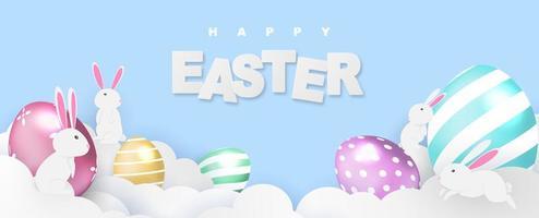 feliz páscoa banner coelho brilho ovos vetor